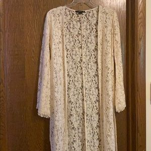 Long Sleeve Embroidered Cardigan with Slits